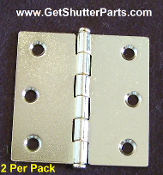 "Plantation Shutter Hinge (PB) 2 1/2"" X 2 1/2"" Polished Brass"